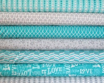 Aqua Grey White Hugaboo Fabric - Half Yard Bundle - Moda - Deb Strain