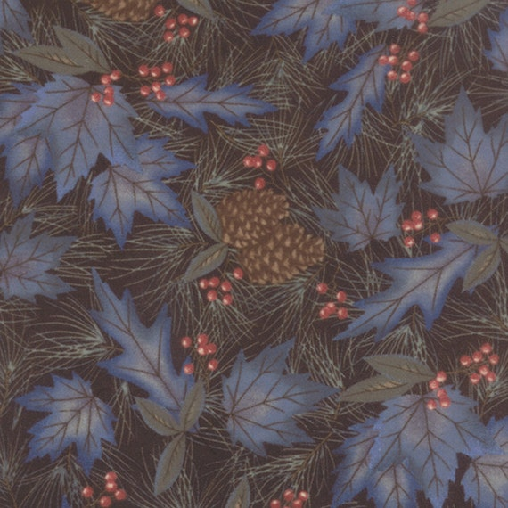 Sable Black Winter Forest Flannel Fabric 1 7 8 Yds Holly