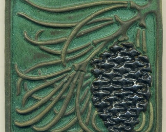 "Craftsman style Green Pine Cone Tile  5"" square - Arts and Crafts style Decorative Tile"