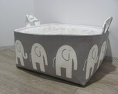 """Diaper Caddy - Fabric Storage Basket - 11"""" x 11"""" Organizer Bin - Storage Box - Nursery Decor - Laundry - Diaper Bag - Baby Gift - Elephants"""