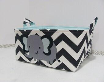 Personalized Diaper Caddy - APPLIQUED Elephant Fabric Basket Storage - Custom Design - Diaper Bag -Baby Gift -Nursery Decor - Chevron Zigzag