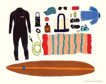 Surfing Gear Print