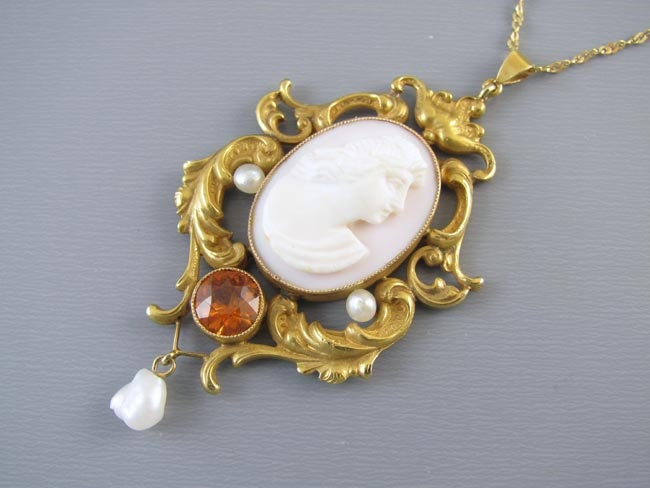 Antique Victorian Art Nouveau 14k gold pink shell cameo seed pearl orange hessonite garnet lavalier pendant necklace