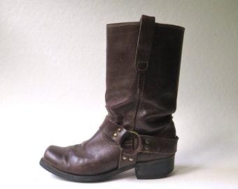 70s vintage Distressed Dark Brown Leather Snub Toe Harness Biker Boots