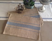 French Grain Sack Burlap Placemats with Grey stripes Farmhouse / Lake House / Cottage Chic Design