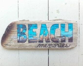 Driftwood Art, Driftwood Painting, Campfire, Beach Memories, 13x5