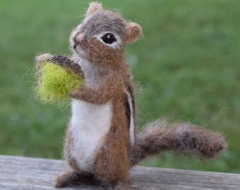 Needle Felted Chipmunk, Poseable