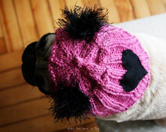 Snuggly Hearts Club Dog Hat - The Original Pug Hat - Valentine Gift - Dog Lover - Dog Clothing - Pet Apparel
