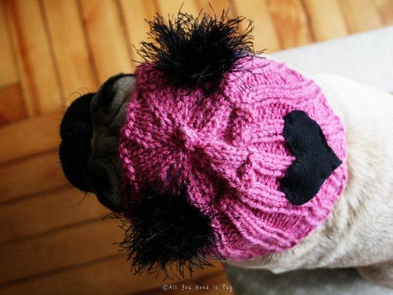Snuggly Hearts Club Dog Hat - The Original Pug Hat - Valentine Gift - Dog Lover - Dog Clothing - Pet Apparel