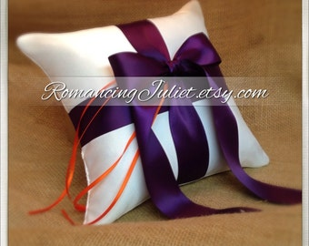 Romantic Satin Ring Bearer Pillow...You Choose the Colors...Buy One Get One Half Off..shown in white/eggplant/orange ties
