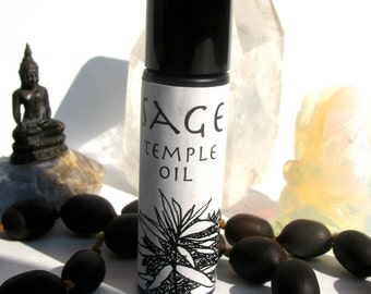 sage temple oil made with three kinds of sages - roll on natural perfume anointing oil
