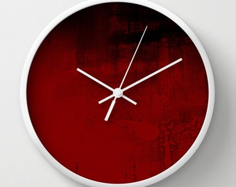 Red Textured Look Clock, Distressed Wall Clock, Red Abstract Clock, Painted  Look Clock