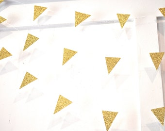 Buy 2 Get 1 FREE - Gold Glitter Mini Pennant Garland - Party Decor - You Choose Colors