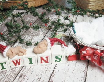 """Twin 1.5"""" Polymer Clay Babies with Basket, Blanket and Blocks Holiday Theme"""