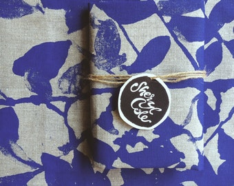 Linen Tea Towel Screen Printed Linen Tea Towel Hand Printed Australian Nature's Silhouette Indigo Blue