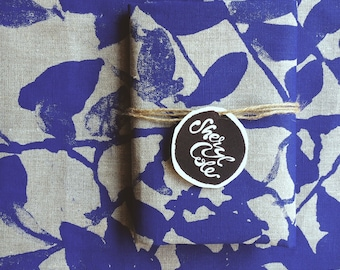 Linen Tea Towel Screen Printed Linen Tea Towel Screenprinted Linen TeaTowel Hand Printed Nature's Silhouette Indigo Blue