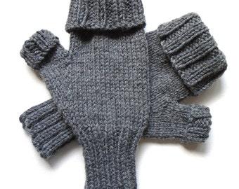 Convertible Gloves for Women, Teen Girls, Handknit Fingerless Gloves, Texting Gloves, charcoal gray gloves, heather gray, hand warmers