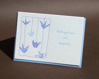 Origami Cranes Sympathy Letterpress Card