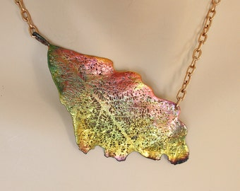 Copper plated Real oak leaf choker, copper acorn, metal necklace, electroformed leaf, leaf jewelry, electroforming, unique custom jewerly