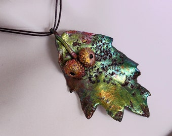 Copper plated Real oak leaf pendant, copper acorn, metal necklace, electroformed leaf, leaf jewelry, electroforming, unique custom jewerly