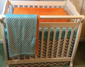 MINI Crib Baby Bedding Set Orange Aqua and Gray