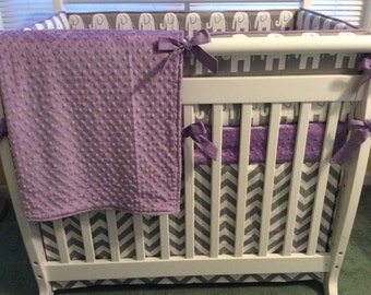 Lavender and Gray Chevron and Elephant Mini Crib Bedding Set