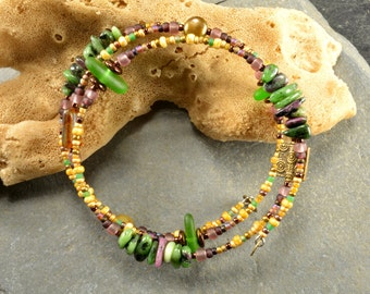 Unusual ruby zoizite and  gleaming green authentic Maine sea glass adjustable wrap bracelet colorful  funky fun for you