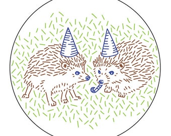 Hedgehog Party PDF Embroidery Pattern