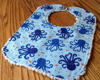 Chenille Backed Baby Bib, Snap Closure, Sweet Octopus