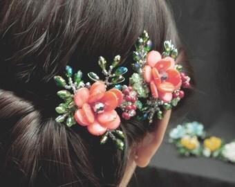 2 pcs Floral Hair Clip, Red Flower Hair Clip, Wedding Hair Clip, Bridal Hair Clip, Hair Accessories, Hair Clip Set, Rose Hair Clip - Lucia