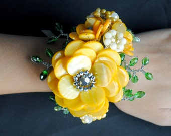 Yellow Beaded Floral Wrist Corsage, Cuff, or Bracelet, Flower or Floral Accessories- Matilda