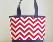 Red Chevron Fabric Tote Bag - READY TO SHIP