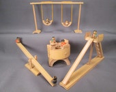 Miniature Toy Playground Set - Swing, Slide, Teeter Totter and Merry Go Round - Made of Bamboo