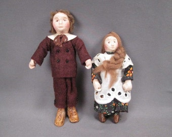 Vintage Hand Made Dollhouse Dolls - Bendable Boy & Girl - 1979