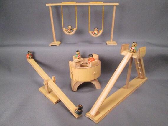 Miniatures jouets playground set balan oire toboggan - Ensemble balancoire et toboggan ...