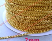 BRASS Gold Plated 2mm Twist Curb Chain Soldered Close Link Strong, High Quality
