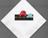 Vroom!  Vroom!  Personalized car napkins for that special little boy's big day or that special baby shower!