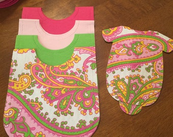 "Any quantity baby shower ""shirt"" or ""bib"" shaped napkins in pinks and lime greens."