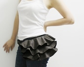 Back To School SALE - 20% OFF Ruffled Waist Purse in Dark Gray / Fanny Pack / Hip Bag / Pouch / Waist Belt / Women / For Her / Gift Ideas