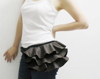 New Year SALE - 20% OFF Ruffled Waist Purse in Dark Gray / Fanny Pack / Hip Bag / Pouch / Waist Belt / Women / For Her / Gift Ideas