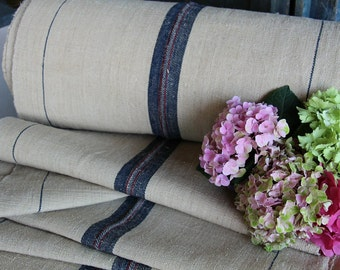 C 448 antique handloomed INDIGO RED french lin 22.953yards cushion tablerunner pillow , wedding decor