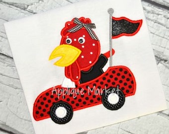 Machine Embroidery Design Applique Rooster Mascot Car INSTANT DOWNLOAD
