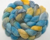 Hand painted BFL 70% trilobal nylon sparkle 30 combed top  roving  101g Colour - Coastal path