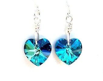 Small Bermuda Blue heart earrings, Swarovksi crystal 10mm Bermuda Blue heart earrings, bridal earrings, bridesmaids