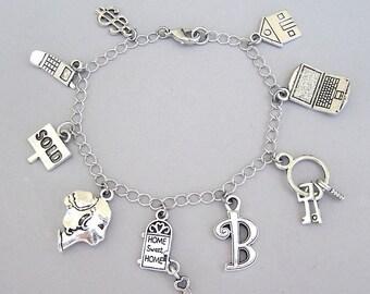 Personalized realtor bracelet, custom initial, realtor necklace, customized realtor charm bracelet, real estate agent charm bracelet
