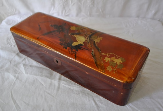 Wooden Glove Box ~ Lacquer painted wood glove box vintage c s japan made