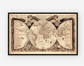 Antique World Map from 1630 with SEA MONSTERS. Canvas Print or Pick your Frame. Large Format Vintage World Map Poster.
