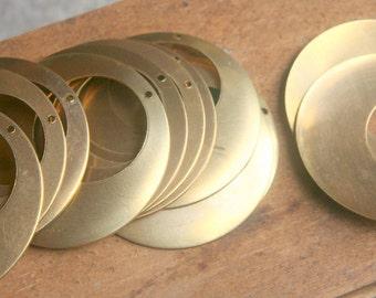 8 Findings Vintage BRASS circle loops