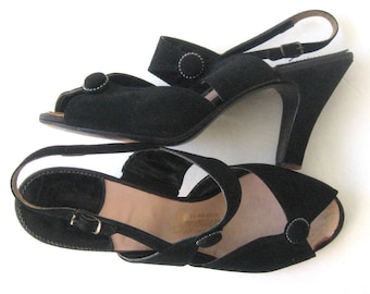 "40's Vintage Shoes Black Suede, 4"" High Heel Slingback Sandal, Peep Toe, Button Trim, Carmelletes Shoes For The Lovely, Size 7 1/2"