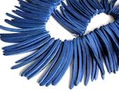 Dark Blue Wood Stick Beads - coconut indian stick 2.25 inch - 25pcs  (PC202C)